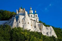 Church on the chalk rock. The legendary church on the chalk rock in ukrainian orthodox monastery. Building also partly made from chalk royalty free stock photos