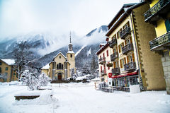 Church in Chamonix town, France Royalty Free Stock Images
