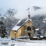 Church in Chamonix town in winter. Church in Chamonix town, France, French Alps  in winter Stock Image