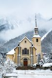 Church in Chamonix town in winter Royalty Free Stock Photo