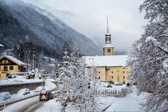 Church in Chamonix town in winter Royalty Free Stock Photography