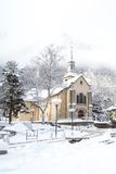 Church in Chamonix town in winter Stock Photo