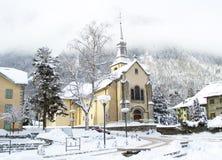 Church in Chamonix town in winter Stock Photography