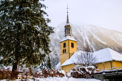 Church of Chamonix town in winter Royalty Free Stock Photo