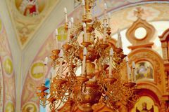 Church chandelier Royalty Free Stock Photography