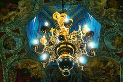 Church chandelier lighted Stock Photos