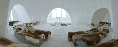 Church and chapel of Ice Hotel near Kiruna. Lapland, north Sweden Royalty Free Stock Image