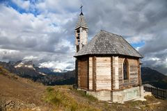 Church or chapel on the mountain top Col di Lana Royalty Free Stock Photography