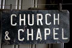 Church & Chapel Trolley Stop Sign. Old Trolley sign for the stop of Church and Chapel royalty free stock image