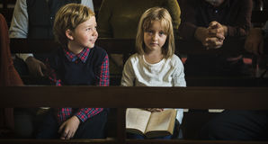 Church Children Believe Faith Religious Family Royalty Free Stock Images