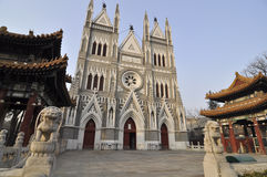 Church in China,Beijing. Front of church,lots of chinese style stock photo