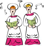 Church choir. A couple of youngsters singing in the church choir Royalty Free Stock Photo