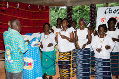 The church choir. Anekro, Ivory Coast - August 20,2015: the choir in the church service on the day of religious mass stock photos