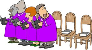 Church choir with missing members stock illustration
