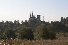 Church of Christ Resurrection at sunrise in village Varnitsy Stock Images