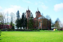 Church of Christ's Assumption in Kupiskis town. VILNIUS, LITHUANIA - MAY 2: Church of Christ's Assumption in Kupiskis town on spring time on May 2, 2015, Vilnius Royalty Free Stock Images
