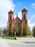 Church of Christ's Assumption in Kupiskis town. VILNIUS, LITHUANIA - MAY 2: Church of Christ's Assumption in Kupiskis town on spring time on May 2, 2015, Vilnius Stock Image