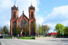 Church of Christ`s Assumption in Kupiskis town. VILNIUS, LITHUANIA - MAY 2: Church of Christ`s Assumption in Kupiskis town on spring time on May 2, 2015, Vilnius Royalty Free Stock Photos