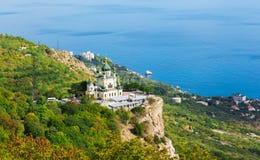 Church of Christ`s Resurrection over settlement of Foros. Church of Christ`s Resurrection over the settlement of Foros, the Crimea royalty free stock photos
