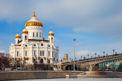Church of Christ the Savior and bridge in Moscow at win Stock Photography