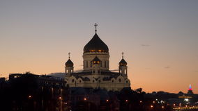 Church of Christ the Savior in the evening stock footage