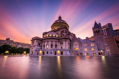 The Church of Christ, Scientist at sunset, at the Christian Scie Stock Photography