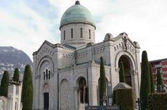 Church in christian cemetery in Lugano, Switzerland Stock Photos