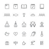 Church and Christian Community Flat Outline Icons. Vector Set.  Stock Photography