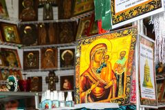 The church Christian orthodox icons offered for sale. VOLGOGRAD, RUSSIA - November 25, 2017: The church Christian orthodox icons offered for sale at the You Royalty Free Stock Photo