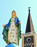 Church of Christianity. With Blessed Virgin Mary statue stock image