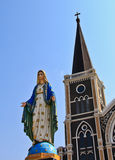 Church of Christianity. With Blessed Virgin Mary statue Stock Photo
