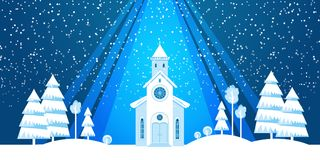 The church and Christmas tree cut from white paper. On blue background. Template for Christmas postcard, invitation, poster Royalty Free Stock Photography