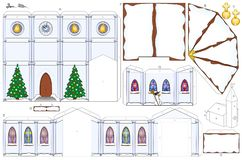 Free Church Christmas Winter Snow Paper Craft Template Royalty Free Stock Photos - 127804478