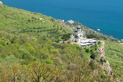 The Church of Christs Resurrection on rock in Crimea  over the settlement of Foros Stock Image