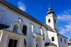 Church. And blue sky on a background. Parndorf. Austria stock image