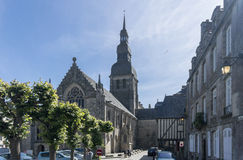 Church in the City of Dinan, Brittany, France Royalty Free Stock Photos