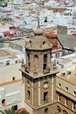 Church and city rooftops, Cadiz. View of the Santiago church bell tower and city rooftops seen from the top of the Cathedral, Cadiz, Cadiz Province, Andalusia Royalty Free Stock Photography
