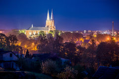 Church city scape at night Royalty Free Stock Image