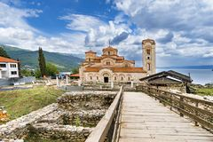 The Church Clement and Panteleimon, Plaoshnik at the shore of Ohrid Lake. Is a UNESCO world heritage site Royalty Free Stock Photos