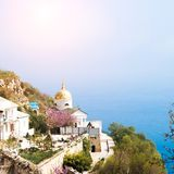 Church on the cliff above the sea Royalty Free Stock Photos