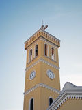 Church clock tower. The church clock tower under beautiful sky royalty free stock photography