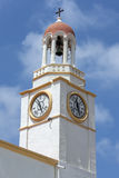 The church clock tower of the Agios Georgios Church on the Greek island of Kastellorizo. Kastellorizo, otherwise known as Meis island, is located in the Royalty Free Stock Image