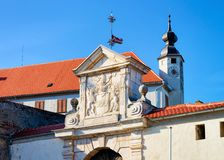 Free Church Clock Tower And Entrance Gate In Ptuj Castle Slovenia Royalty Free Stock Image - 166523086