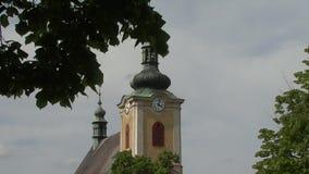 Church clock tower stock footage