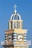 Church clock tower in Fira, Santorini Stock Image