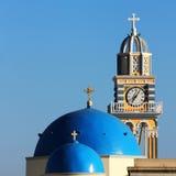 Church clock tower in Fira,Santorini Royalty Free Stock Image