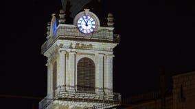 Church clock tower timelapse - Terra Santa High School in Old Jerusalem. Israel stock footage