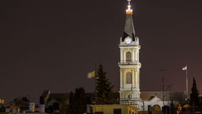 Church clock tower timelapse - Terra Santa High School in Old Jerusalem. Israel stock video footage
