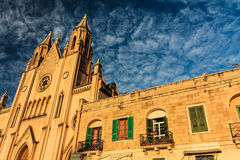 Church in the clouds. Photo of church was taken on island Malta stock photo