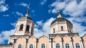 Church on cloudy sky background. Tomsk. Russia Stock Images
